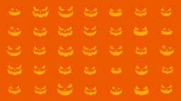 Halloween silhouettes background, Spooky and crazy pumpkins, Loop