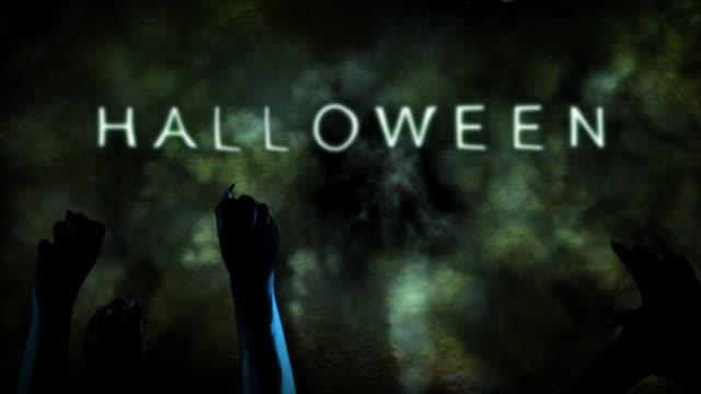 vídeos y material grabado en eventos de stock de halloween zombie petulantes título de alta definición con las manos - vampiro