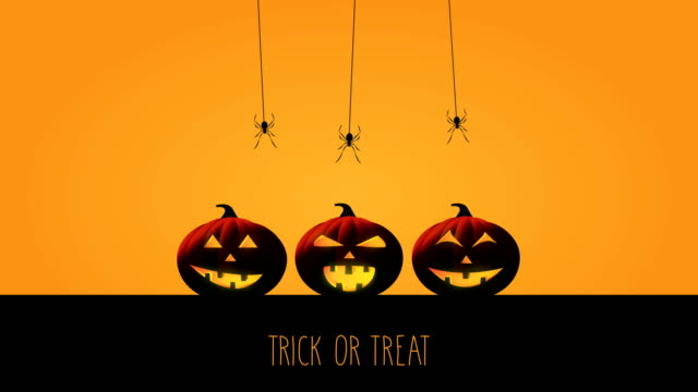halloween trick or treat with pumpkins and spiders. 4k animation - halloween wallpaper stock videos and b-roll footage
