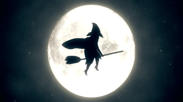 4k halloween hexe animation | endlos wiederholbar - halloween stock-videos und b-roll-filmmaterial