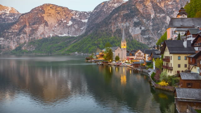 hallstatt at dusk - traditionally austrian stock videos & royalty-free footage
