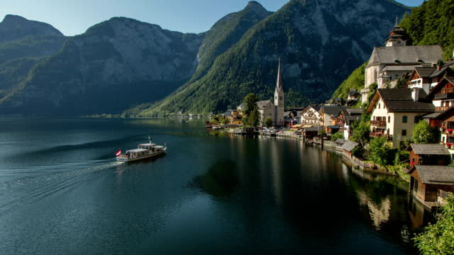 hallstatt classic view - austria video stock e b–roll