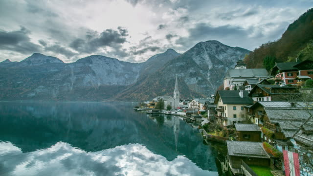 hallstatt mountain village landscape famous view - austria stock videos and b-roll footage