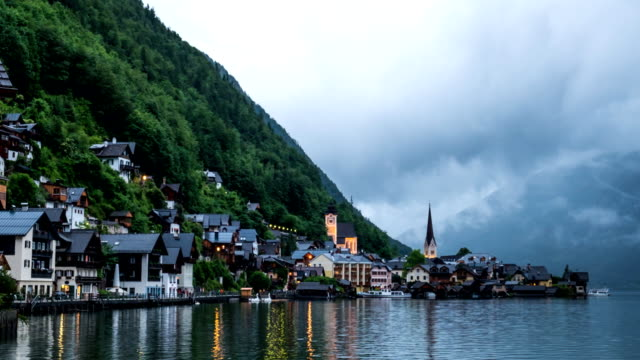 Hallstatt mountain village landscape famous view