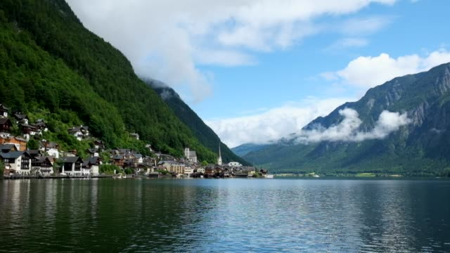 hallstatt mountain village landscape famous view - traditionally austrian stock videos & royalty-free footage