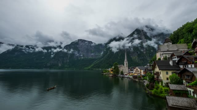 hallstatt mountain village landscape famous view - traditionally austrian stock videos & royalty-free footage