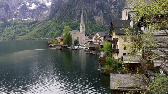 Hallstatt Village and Hallstatter See lake in Austria