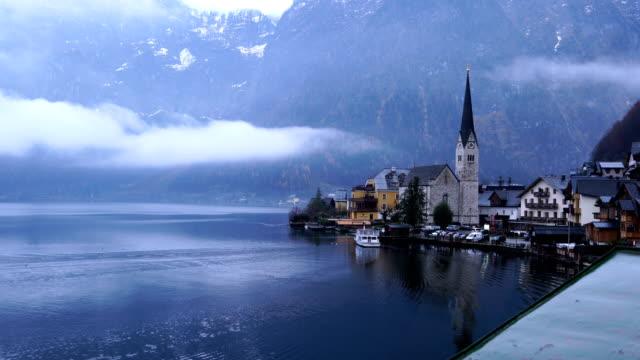 hallstatt village and hallstatter see lake in austria - traditionally austrian stock videos & royalty-free footage