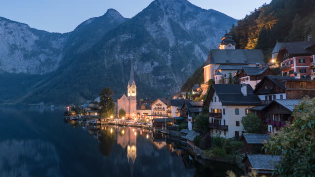 Hallstatt Village Cityscape lake in Austria