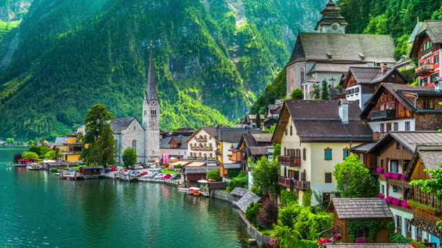 hallstatt village in austria - salzkammergut stock videos and b-roll footage