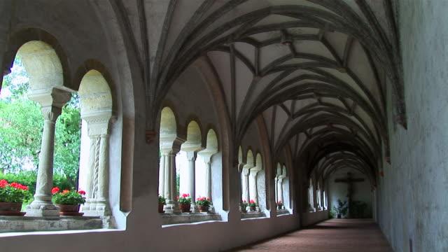 MS Hallway of monastery ancient romanic collonade / Steingaden, Bavaria, Germany