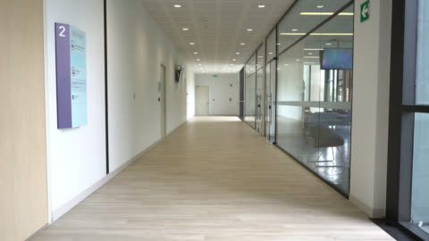 hallway view at the hospital - no people - medical clinic stock videos & royalty-free footage
