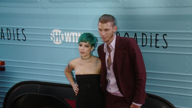 Halsey and Machine Gun Kelly at The Showtime Original Series Roadies Los Angeles Premiere at The Theatre at Ace Hotel Downtown LA on June 06 2016 in...