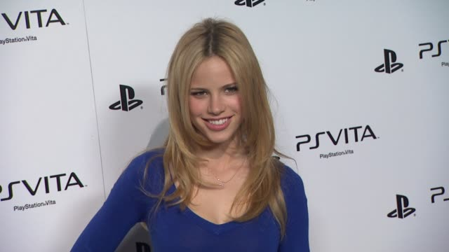 halston sage at sony playstation unveils ps vita portable entertainment system on 2/15/12 in hollywood ca - halston stock videos & royalty-free footage