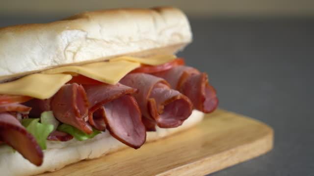 Ham and salad submarine sandwich
