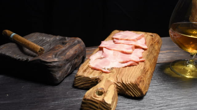ham, cigar and brandy - brandy snifter stock videos and b-roll footage