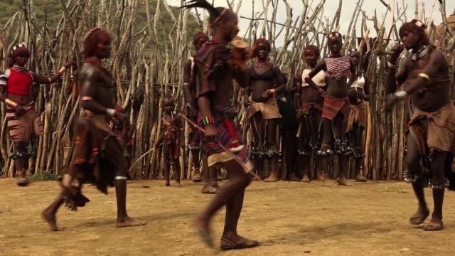 vídeos y material grabado en eventos de stock de hamar tribe during the bull jumping ceremony the young women are dancing and provocating the young men during the whipping ritual omo river ethiopia - el cuerno de áfrica
