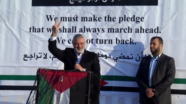 hamas chief ismail haniyeh speaks during the ongoing great march of return rally at the gazaisrael border on on april 09 2018 in gaza strip on march... - historical palestine stock videos & royalty-free footage