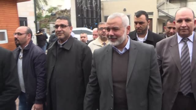 hamas leader ismail haniya meets with christian leaders during his visit to the latin monastery complex in gaza city - hamas stock videos & royalty-free footage
