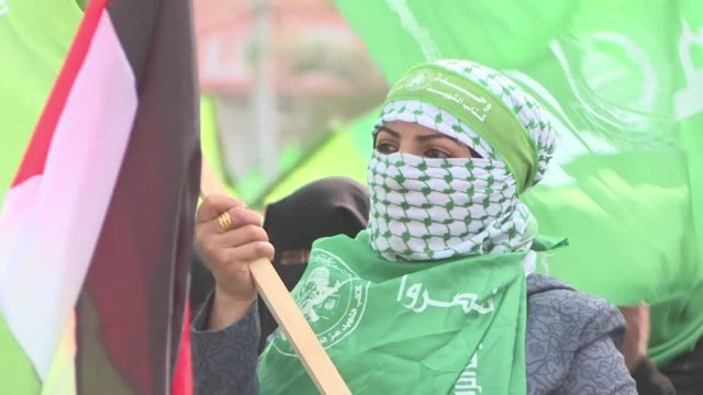 hamas leader ismail haniya praises resistance in the occupied west bank in a speech to tens of thousands during a rally in gaza city for the 31st... - hamas stock videos & royalty-free footage