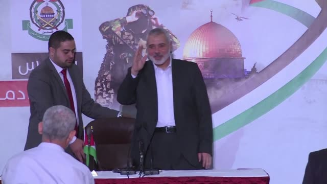 hamas leader ismail haniya says his palestinian movement is in talks with egypt to improve the humanitarian situation in the impoverished gaza strip... - hamas stock videos & royalty-free footage