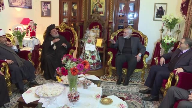 hamas leader ismail haniya visits the church of saint porphyrios in gaza and meets with christian orthodox clerics - gaza city stock videos & royalty-free footage
