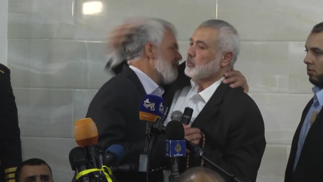 hamas leader ismail haniyeh attends the funeral ceremony of fadi albatsh a palestinian hamaslinked research engineer who was killed by unknown... - gaza city stock videos & royalty-free footage