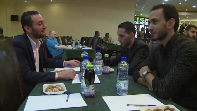 hamas leadership invited gaza's young activists to a recruitment and networking meeting held in gaza city thursday - hamas stock videos & royalty-free footage