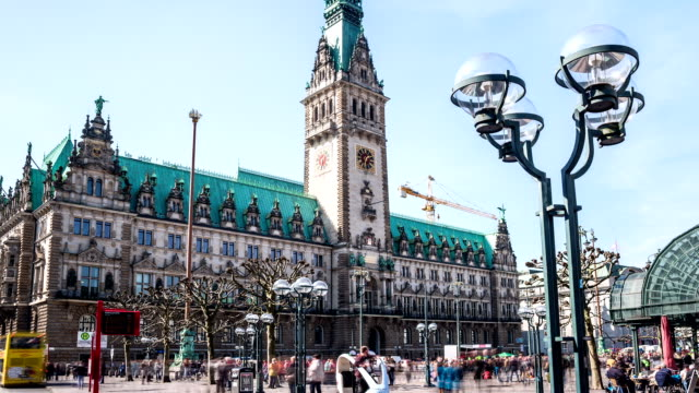hamburg city hall hyperlapse - town hall stock videos & royalty-free footage