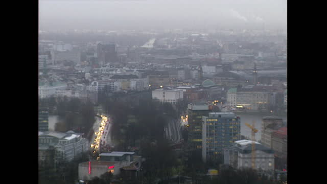 ws hamburg cityscape with car headlights; 1998 - 1998 stock videos & royalty-free footage