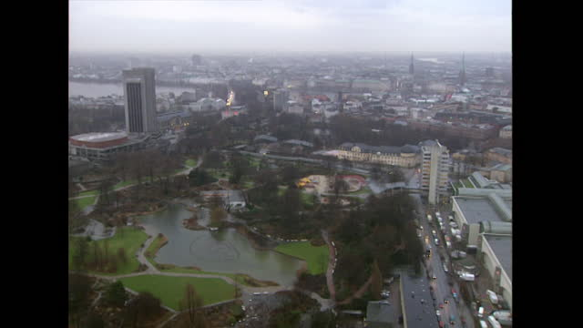 has hamburg cityscape with traffic and public park; 1998 - 1998 stock videos & royalty-free footage