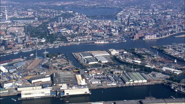 hamburg docks  - aerial view - hamburg,  germany - darsena video stock e b–roll