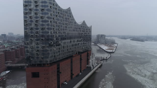 Hamburg Elbphilharmonie in winter ice aerial