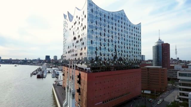 hamburg hafencity aerial view - concert hall stock videos and b-roll footage