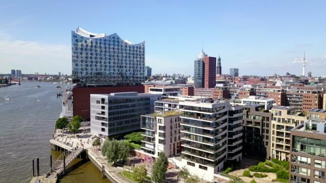 hamburg hafencity aerial view - hamburg germany stock videos & royalty-free footage