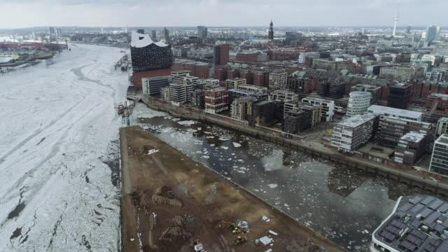 hamburg hafencity construction site winter ice aerial - hamburg germany stock videos & royalty-free footage