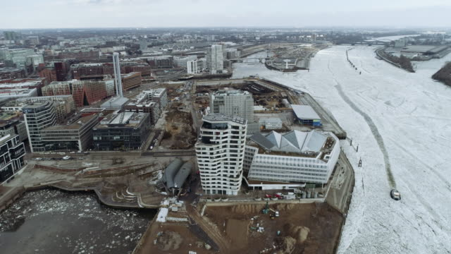 hamburg hafencity construction site winter ice aerial - tower stock videos & royalty-free footage