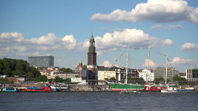 Hamburg Harbour, St.Michaelis church in background, Germany