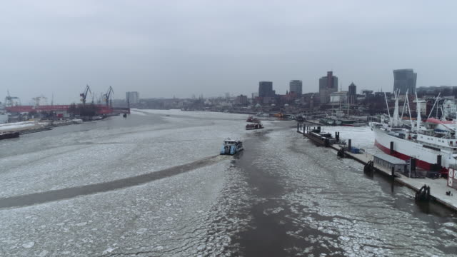 hamburg harbour winter ice aerial