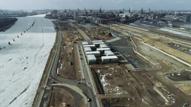 hamburg harbour winter ice aerial - flüchtling stock-videos und b-roll-filmmaterial