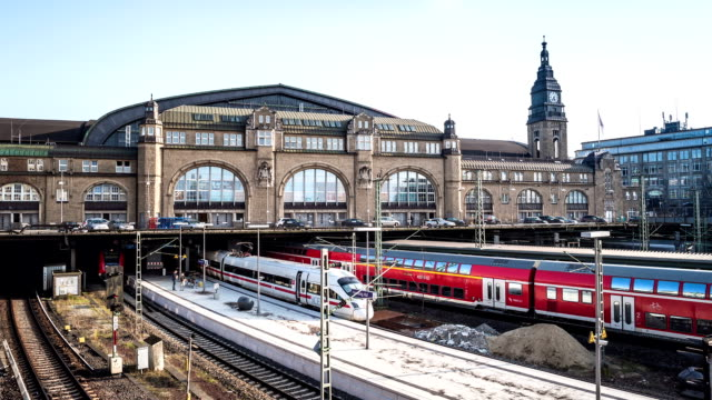 hamburg main station hyperlapse - passenger train stock videos & royalty-free footage