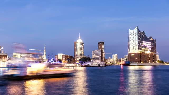 Hamburg Skyline bei Sonnenuntergang, Zeitraffer