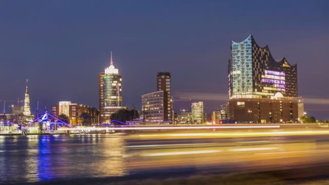hamburg skyline, time lapse - hamburg germany stock videos & royalty-free footage