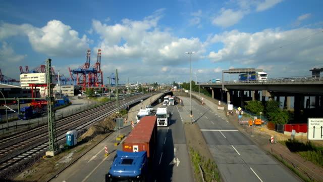Hamburger Skyline mit Autobahn und CRH-Hafen, Zeitraffer
