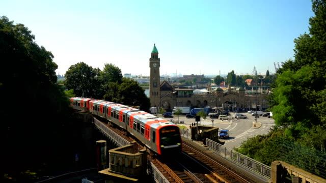 hamburg skyline with subway - hamburg germany stock videos & royalty-free footage