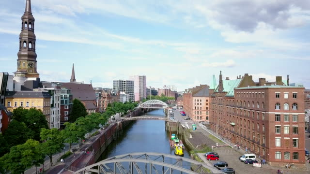 hamburg speicherstadt aerial view - germany stock videos & royalty-free footage