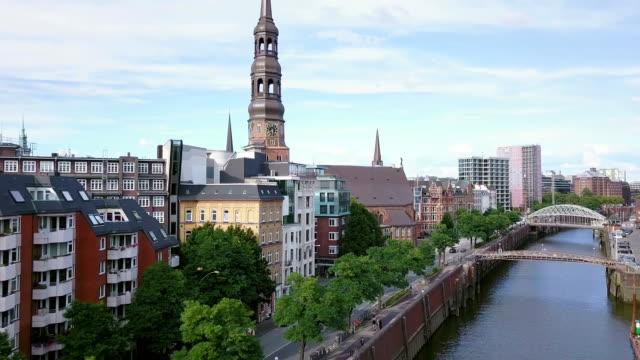 hamburg speicherstadt aerial view - hamburg germany stock videos & royalty-free footage