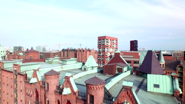 hamburg speicherstadt and hafencity aerial view - crane shot stock videos & royalty-free footage