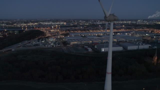 hamburg wind generator aerial - windenergie stock-videos und b-roll-filmmaterial