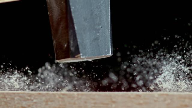slo mo ld hammer hitting a nail - hammer stock videos & royalty-free footage